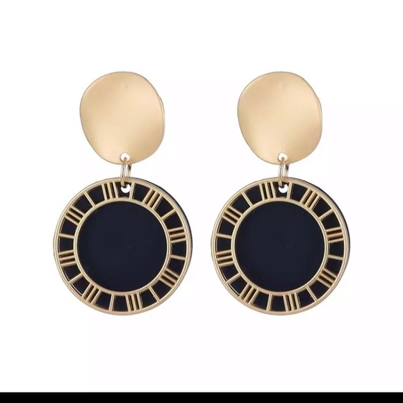 New double round black / gold earrings
